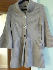 MARKS AND SPENCER SIZE 12 CHUNKY KNIT CARDIGAN COLOUR BEIGE