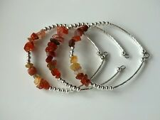 Red Agate Gemstone and Silver Chip Bead Cuff Bracelet Set of 3 Gift for Women