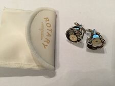 Skeleton Dial Cufflinks -Gold,Rose Gold & Rhodium Plated + Free Rotary Pouch