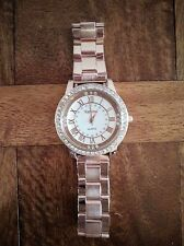 Geneva Ladies Fashion Rose Gold Crystal Stainless Steel Quartz Dress Wrist Watch