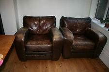 2 Retro Chabby Chic Club Chairs Leather