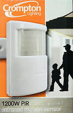 2 x Crompton PIR Motion Sensor - for Outdoor Security Lights / Floodlights WHITE