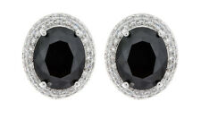 CLIP ON EARRINGS - silver plated with a black CZ stone & crystals - Miley B
