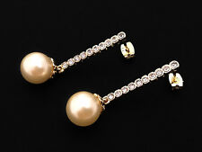 18ct solid Gold Plated long stud drop earrings with cubic zirconia gift 18K