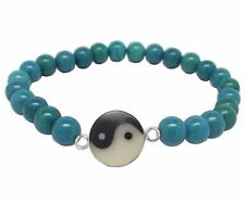 YIN and YANG BRACELET 925 Sterling SILVER and TURQUOISE  Elasticated