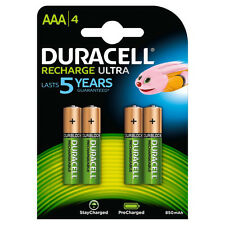 4 Pack Duracell AAA Rechargeable Batteries Duralock Pre and Stay Charged 850mAh