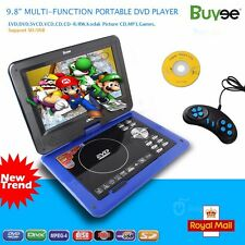 "9.8"" Portable DVD Player Rechargeable Swivel Screen In Car Charger,Game SD USB"