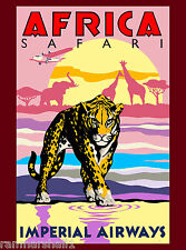 Africa African Safari Leopard Airplane Vintage Travel Advertisement Art Poster