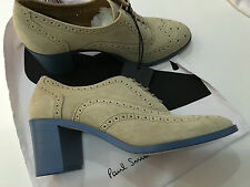Paul Smith Womens BROGUE Shoes with Blue Block Heels UK5 EU38 Made in Italy