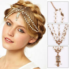 UK Gold Pearl Chain White Bead Crown Tikka Head Hair Cuff Headband Headpiece