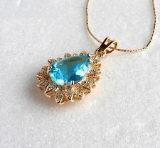 18K Gelbes Gold Überzogener Aquamarin Meeresblau Künstlicher Diamant Halskette