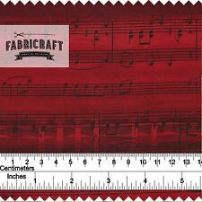 Music Notes & Staves in Black on Red 1 Metre 100% cotton