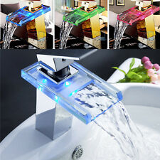 New Modern LED RGB Waterfall Chrome Single Lever No Battery Mixer Sink Basin Tap