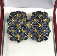 14k Solid Yellow Gold Cluster Rectangle Omega Back Earrings,Natural Sapphire 8CT