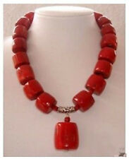 """Huge Red Cylinder Coral Necklace pendant 18"""""""