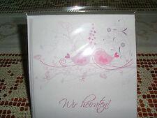 SET / 8x Einladungskarte / Umschlag Hochzeit /auch Kleinmengen rosa weiß