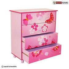 Kinderkommode Kinderschrank Kinder Schrank Schmetterling +Schubladen rosa
