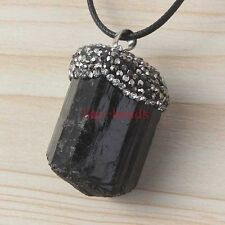 Natural Druzy Black Tourmaline Inlay Rhinestone Crystal Pendulum Pendant Jewelry