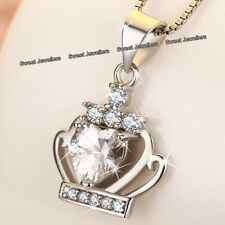 CHRISTMAS SALE - 925 Silver Crystal Diamond Heart Crown Necklace Xmas Gift Women