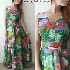 ORIGINAL VINTAGE 1970S MAXI DRESS TROPICAL FLORAL PSYCHEDELIC HIPPY BOHO CHIC 10