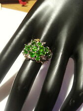 Natural AAA Green 3.35  Diopside sterling  silver ring Size N