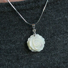 Mother Pearl Shell Ivory Rose Flower 925 Sterling Silver Necklace Vintage Retro