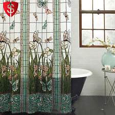 """Bathroom Shower Curtain Hooks Stained Glass Meadow Dragonfly Butterfly 70"""" x 72"""""""