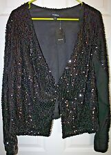"""Torrid"" Long Sleeve Evening Jacket~Sequin~Black~3~NWT"