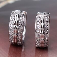 Vogue 18k white gold filled Cool jewlery white sapphire Huggie earring