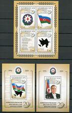 ASERBAIDSCHAN AZERBAIJAN 2011 Unabhängigkeit Flagge Hymne Block 102-104 ** MNH