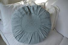 Van Deurs Kissen Grau-Blau Rund Leinen Shabby Chic Deko Vintage Landhaus