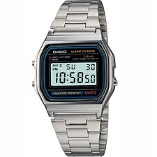 Casio A158WA-1 Classic Black Face/Silver Band Digital Watch Retail Box Included