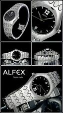 ALFEX WOMEN'S WATCH SWISS MADE SOLID STAINLESS STEEL NEW DIAL COLOR ANTHRACITE