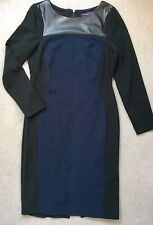 M&S NAVY BLUE & BLACK WITH BLACK FAUX LEATHER YOKE PENCIL STYLE DRESS -SIZE 12