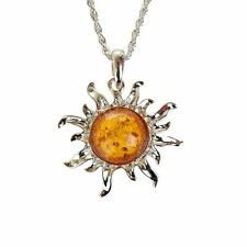 Silver Plated SUN / STAR Baltic Faux Amber Long Drop Chain Necklace Pendent
