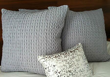 2x Silver PRIVATE COLLECTION CABLE European Pillowcase Covers 65x65cm