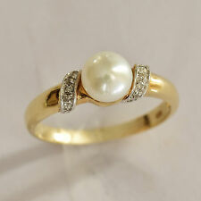 CULTURED PEARL DIAMOND RING. FRESHWATER PEARL + 10 DIAMONDS 9K GOLD RING. SIZE P