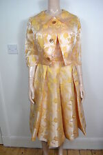 VINTAGE 1950's YELLOW COTTON SILK ENGLISH MADE WOMEN'S DRESS & JACKET UK SIZE 8