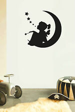 GIRL ON MOON Children's bedroom nursery vinyl sticker wall transfer home decor