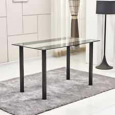 Modern Black&Clear 8mm Tempered Glass Dining Table Black Metal Legs Dining Room