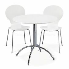 Dining Set Round White Table and 2 White Chairs Chrome Keeler Kitchen Cafe Style