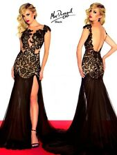 61041R Black MacDuggal Lace Gown Party Evening Formal Dress Prom Size USA 0