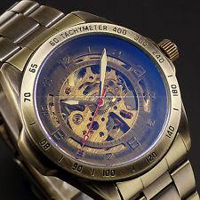 Retro Bronze Steampunk Skeleton Automatic Mechanical Sport Steel Men's Watch