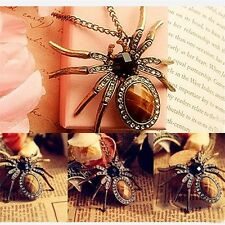 New Retro Bronze Crystal Rhinestone Spider Bead Charm Pendant for Necklace IM