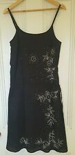☆♢ WITCHERY Gorgeous Beaded Linen Summer Dress Black Size 10 ♢☆