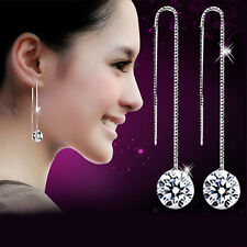 925 Silver Plated Long Crystal Drop Dangle Earrings  Truly Stunning Ladies Gift