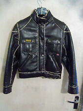 WOMANS BELSTAFF FAUX LEATHER COUGAR MOTORCYCLE JACKET SIZE L UK10 SHERPA LINED