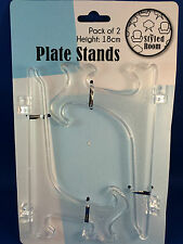 Plate stand clear 2 x large 18cm plate display stands easel style New