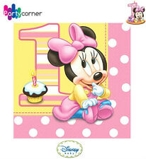 MINNIE MOUSE 1ST BIRTHDAY PARTY SUPPLIES LUNCH NAPKINS 2 PLY PACK OF 16
