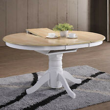 Large Extending Dining Table Farmhouse Round Rustic Shabby Chic Wooden Pedestal